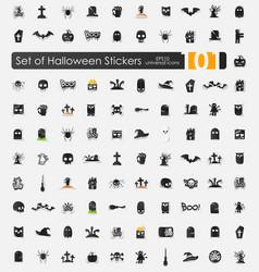 Set of halloween stickers vector