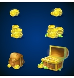 Set of objects - coins chest emeralds bag vector