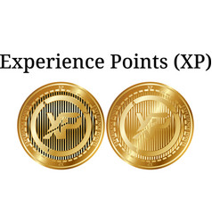 Set of physical golden coin experience points xp vector