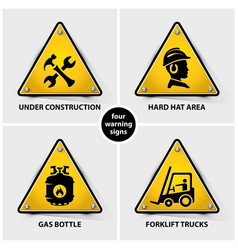 Set of yellow warning symbols vector