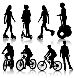 Set silhouette of a cyclist vector image