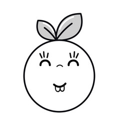 Silhouette kawaii nice happy orange fruit vector