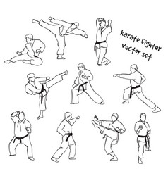 silhouettes of karate fighters vector image
