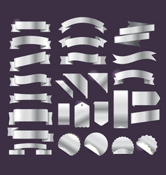 Silver retro style ribbons tags and emblems big vector