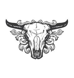 skull bull vintage style t shirt design vector image