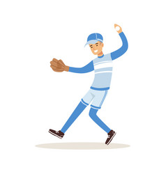 Smiling baseball player in a blue uniform pitching vector