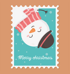 snowman celebration happy christmas stamp vector image