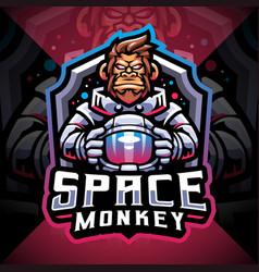 Space monkey esport mascot logo design vector