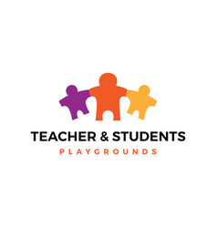 teacher parent student children logo icon vector image