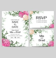 template for wedding invitation beige and pink vector image