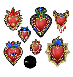Traditional mexican hearts with fire and flowers vector