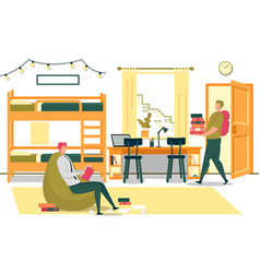 university students prepare for exams in dormitory vector image