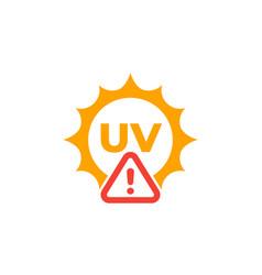 Uv radiation warning icon high level sign vector