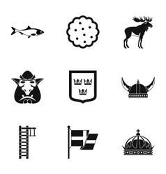 Vacation in sweden icons set simple style vector