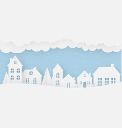 views of the house in winter on a snowy day vector image