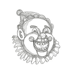 Vintage circus clown head doodle vector