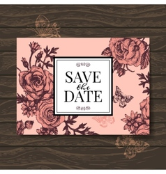 Vintage wedding invitation with rose flowers vector image