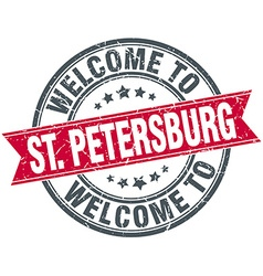 Welcome to St Petersburg red round vintage stamp vector