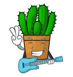 With guitar spurge cactus plant isolated on mascot vector