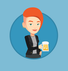 Woman drinking beer vector