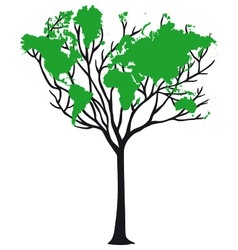 World map tree vector image