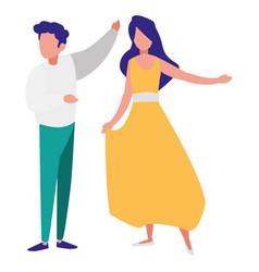 young couple dancing flamenco vector image