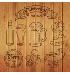 Decorative hand draw beer icons and wood vector image