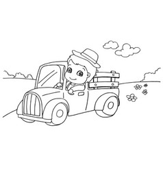 little boy driving a toy car coloring page vect vector image