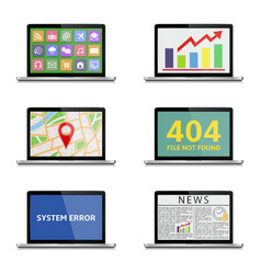 various laptop icons isolated on white vector image vector image