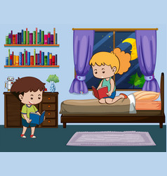 boy and girl reading book in bedroom vector image vector image