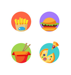 Street food stickers badges for pack decoration vector