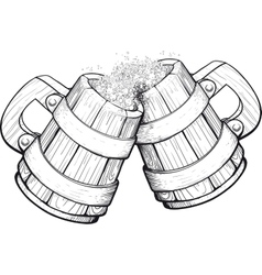 Two Beer wooden mugs vector image vector image