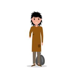 cartoon woman indigent beggar homeless vector image vector image