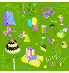 Colored Set of sketch party vector image vector image