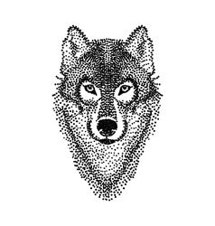 Dotwork tattoo design stylized wolf face hand vector