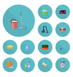 Flat icons towel besom mopping and other vector