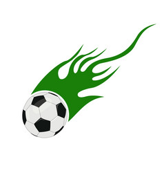 soccer ball with flames vector image vector image