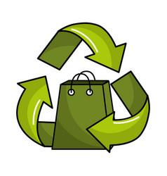 Green bag inside of recycling symbol vector