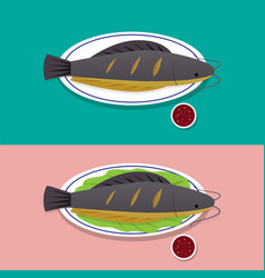 herb grilled catfish on white plate thai food vector image