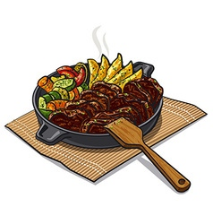 roasted meat and vegetables vector image vector image