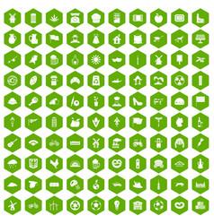 100 mill icons hexagon green vector
