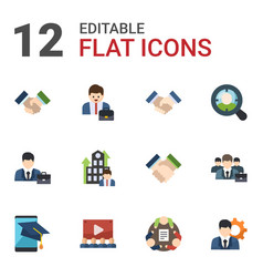 12 corporate flat icons set isolated on white vector