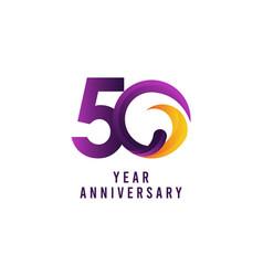 50 years anniversary purple template design vector