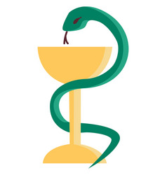 A green serpent coiled to champagne glassware or vector