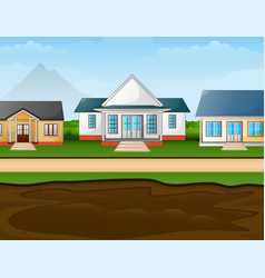 A muddy puddle in front suburban houses vector