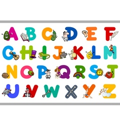alphabet with objects for kids vector image