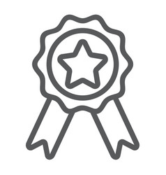 badge with ribbons line icon e commerce vector image