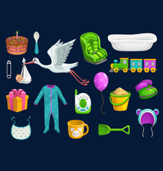 Baitem icons toys cup spoon bib and stork vector