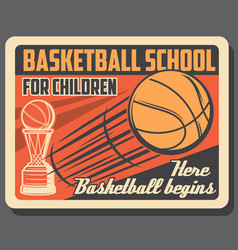 Basketball sport school retro poster vector