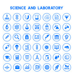 big science icon set trendy flat icons vector image